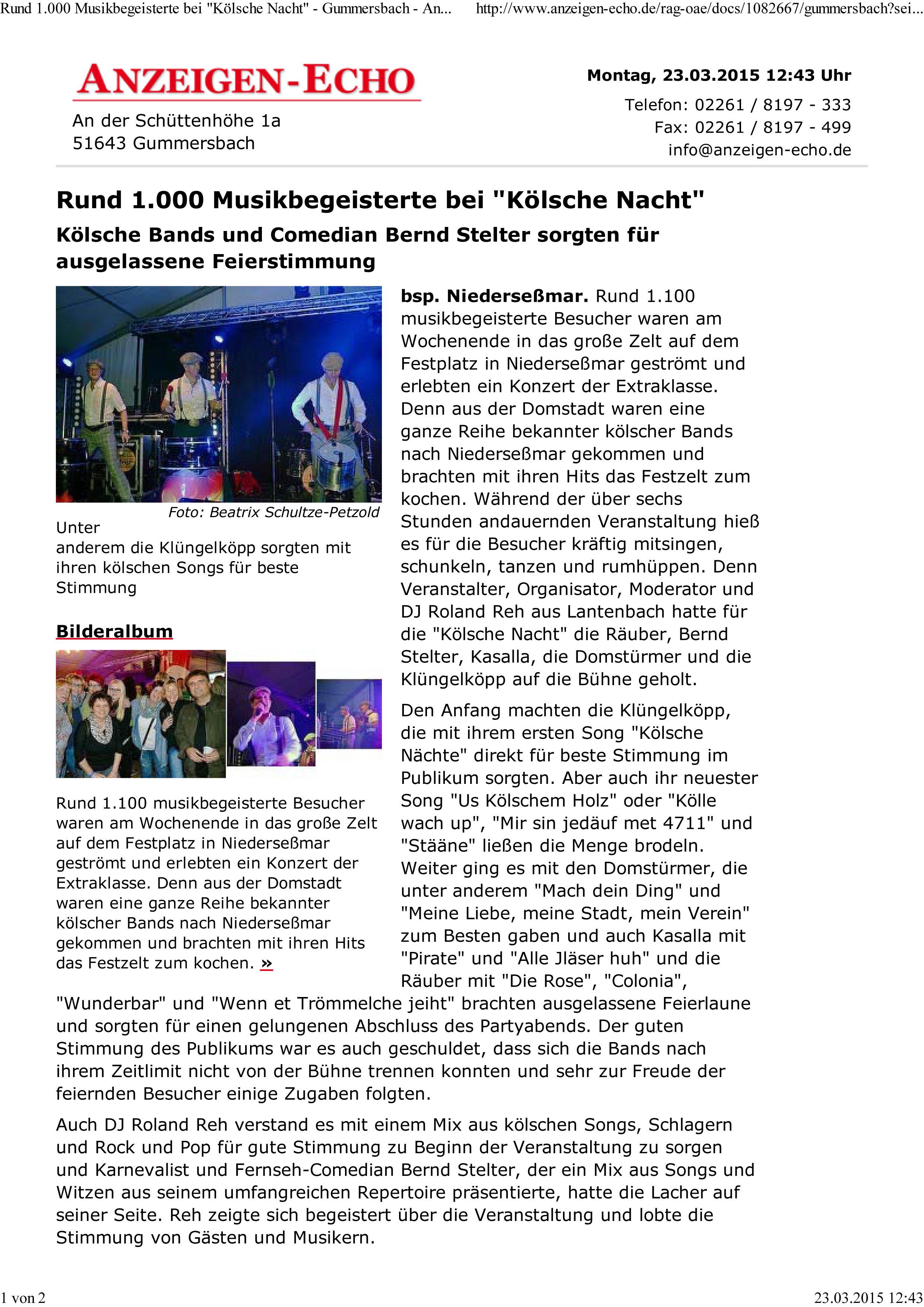"""Rund 1.000 Musikbegeisterte bei """"Kölsche Nacht"""" - Gummersbach -"""