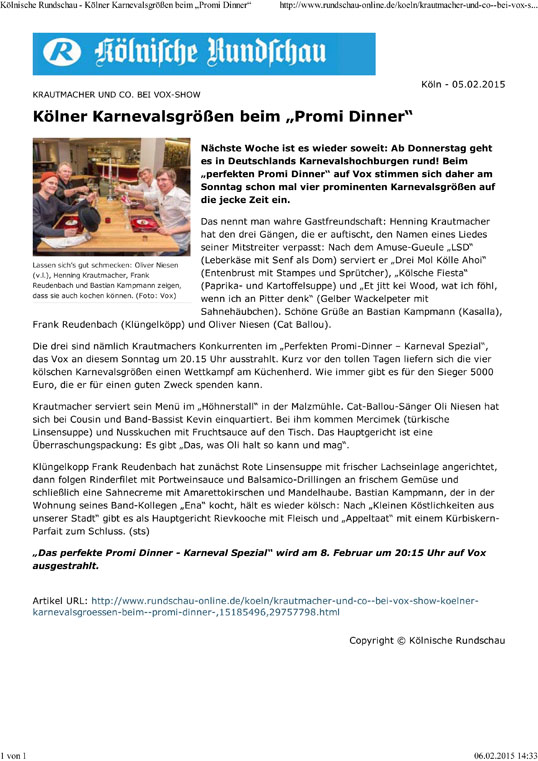 "Kölnische Rundschau - Kölner Karnevalsgrößen beim ""Promi D"