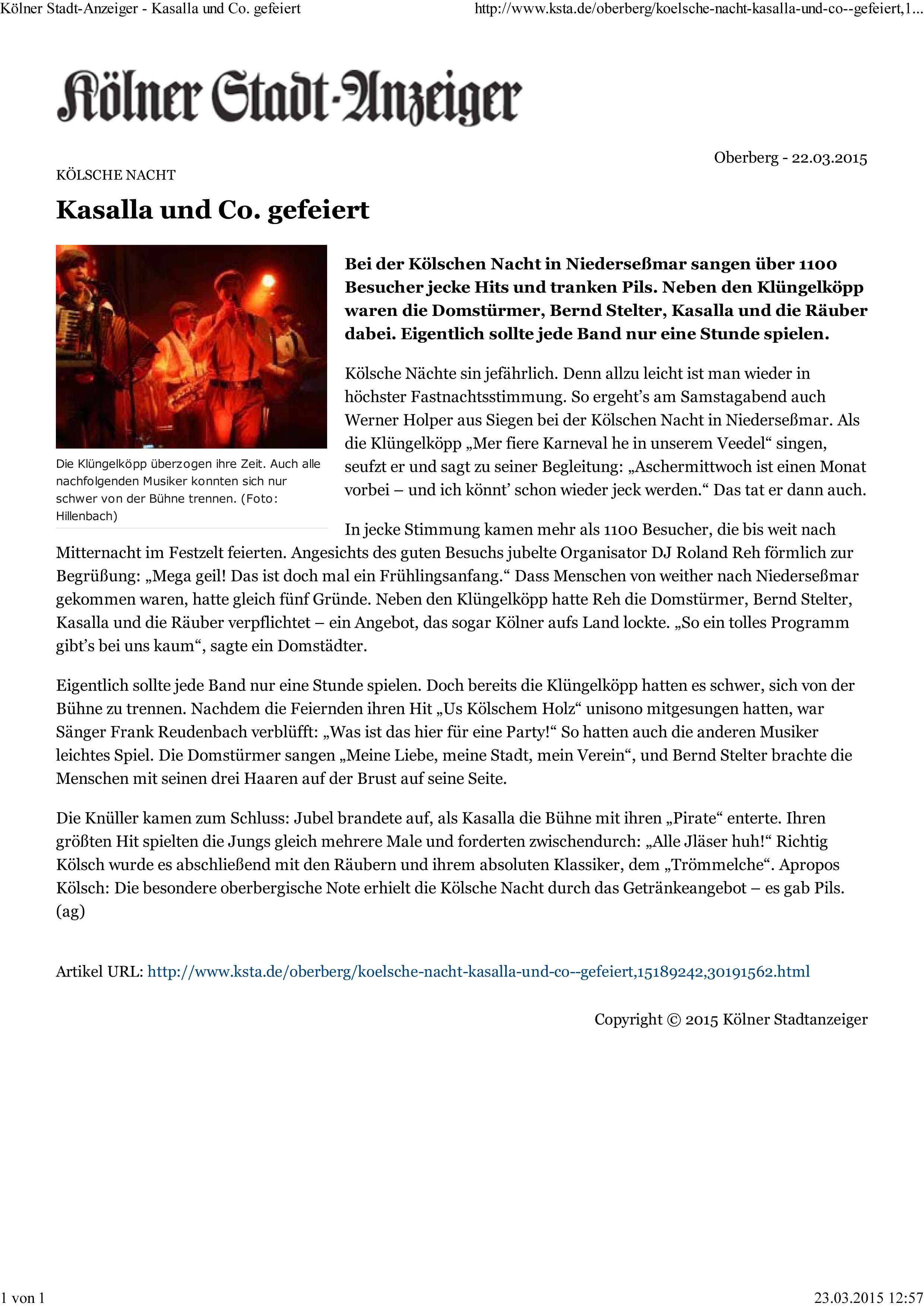 Kölner Stadt-Anzeiger - Kasalla und Co. gefeiert